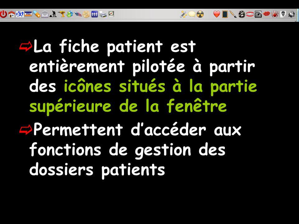 La fiche patient est entièrement pilotée à partir des icônes situés à la partie supérieure de la fenêtre Permettent daccéder aux fonctions de gestion