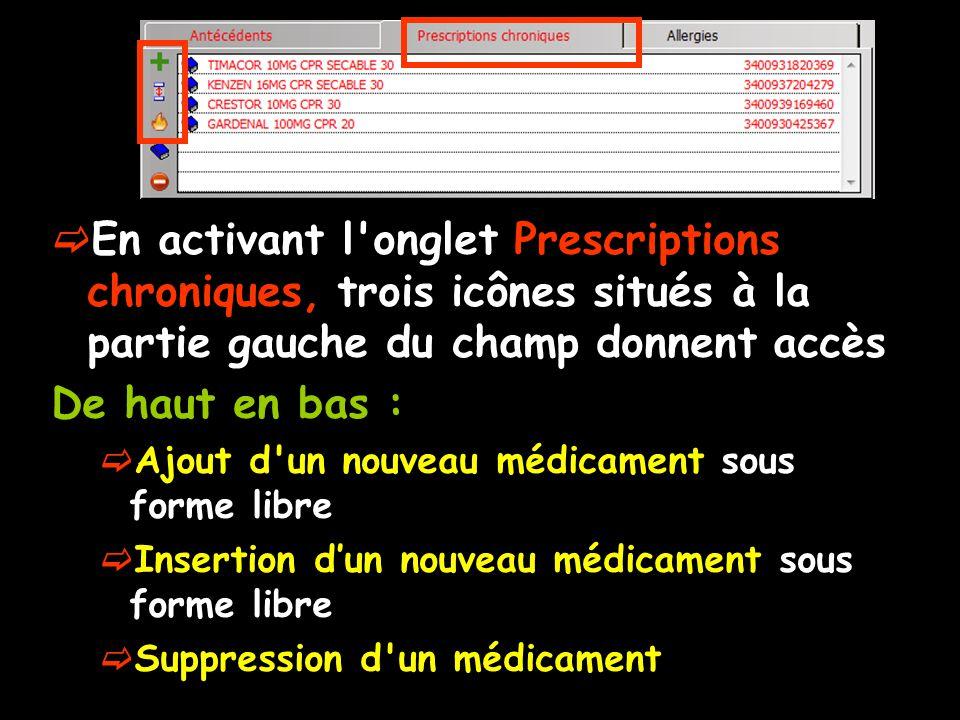 En activant l'onglet Prescriptions chroniques, trois icônes situés à la partie gauche du champ donnent accès De haut en bas : Ajout d'un nouveau médic