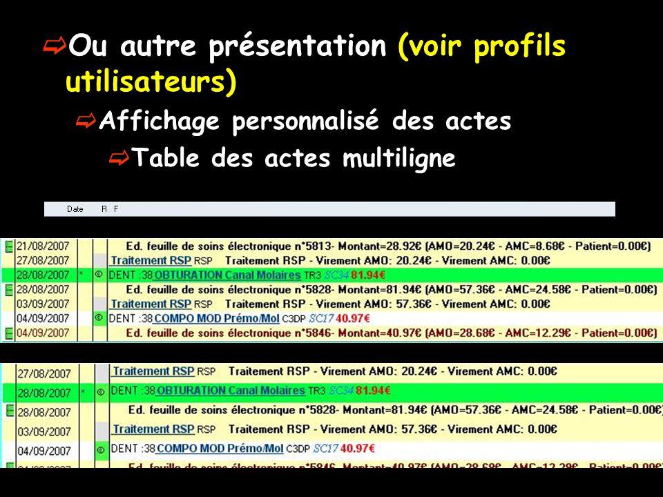 Ou autre présentation (voir profils utilisateurs) Affichage personnalisé des actes Table des actes multiligne
