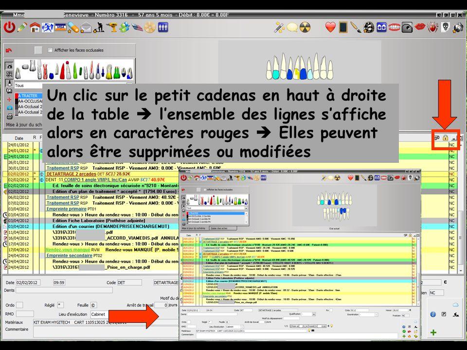 Un clic sur le petit cadenas en haut à droite de la table lensemble des lignes saffiche alors en caractères rouges Elles peuvent alors être supprimées