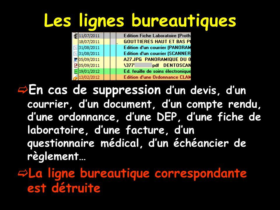 Les lignes bureautiques En cas de suppression dun devis, dun courrier, dun document, dun compte rendu, dune ordonnance, dune DEP, dune fiche de labora