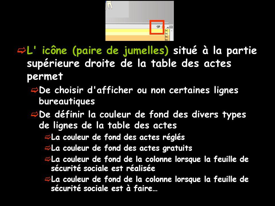 L' icône (paire de jumelles) situé à la partie supérieure droite de la table des actes permet De choisir d'afficher ou non certaines lignes bureautiqu