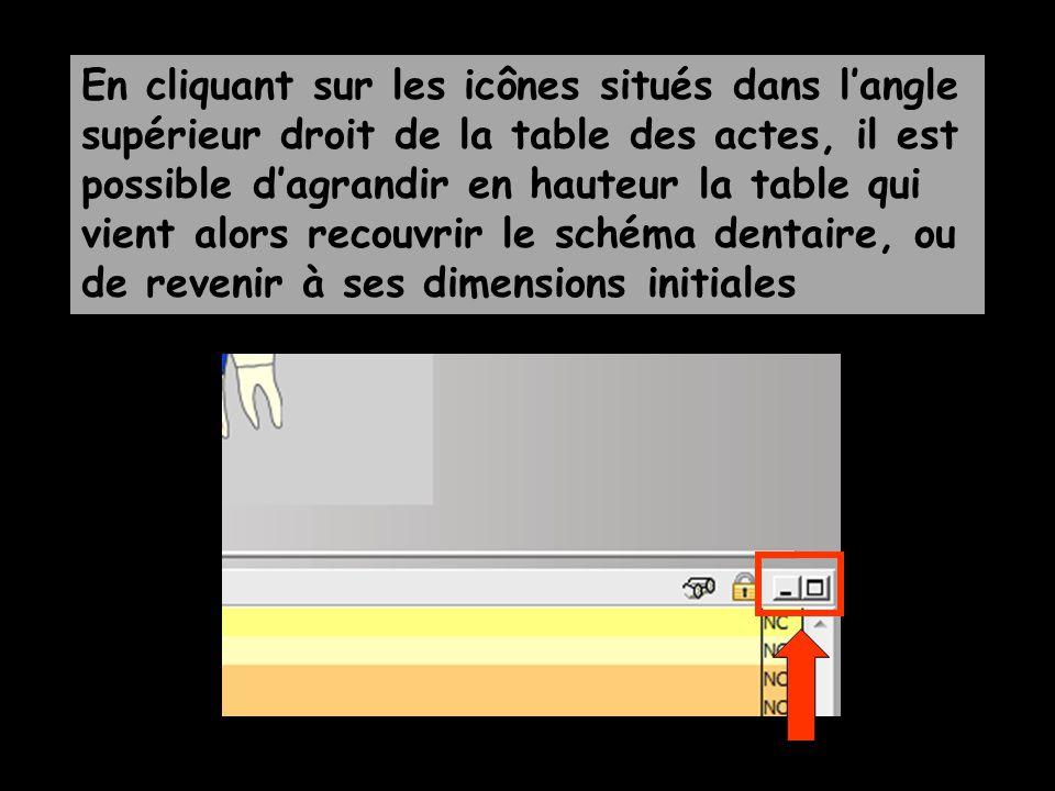 En cliquant sur les icônes situés dans langle supérieur droit de la table des actes, il est possible dagrandir en hauteur la table qui vient alors recouvrir le schéma dentaire, ou de revenir à ses dimensions initiales