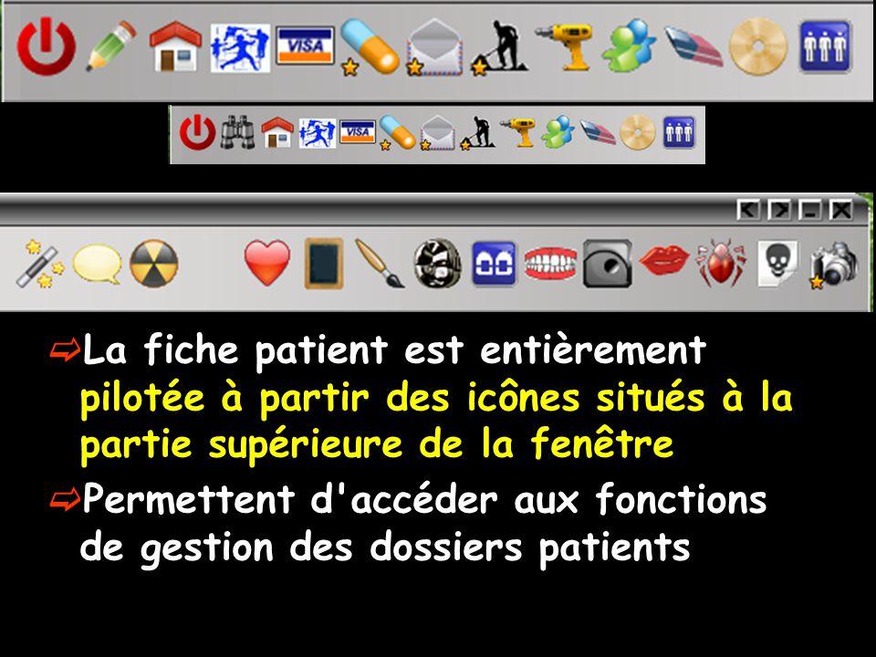 La fiche patient est entièrement pilotée à partir des icônes situés à la partie supérieure de la fenêtre Permettent d'accéder aux fonctions de gestion