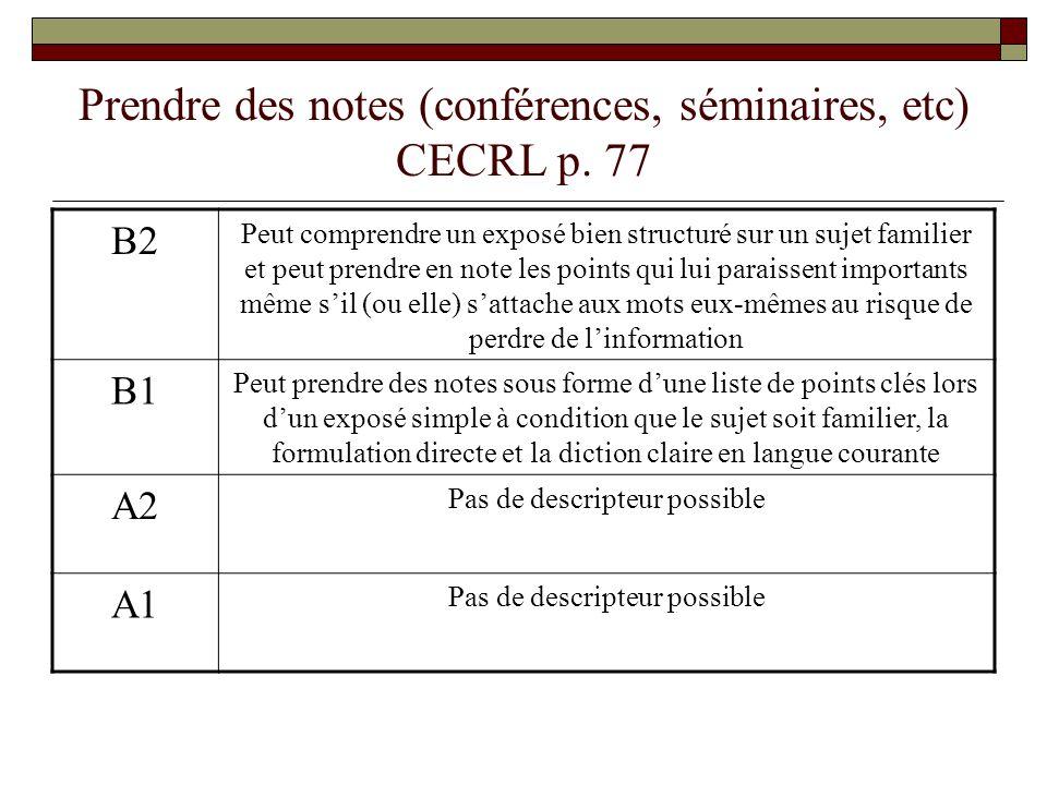 Prendre des notes (conférences, séminaires, etc) CECRL p. 77 B2 Peut comprendre un exposé bien structuré sur un sujet familier et peut prendre en note