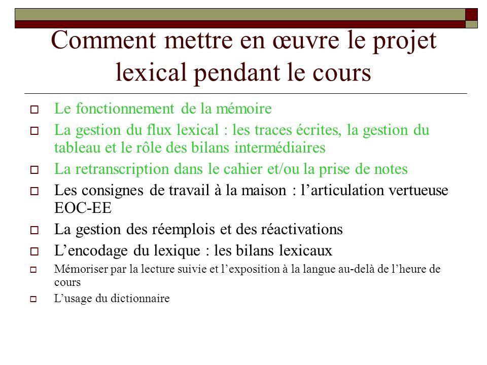 Comment mettre en œuvre le projet lexical pendant le cours Le fonctionnement de la mémoire La gestion du flux lexical : les traces écrites, la gestion