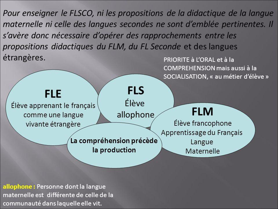 FLE Élève apprenant le français comme une langue vivante étrangère FLS Élève allophone FLM Élève francophone Apprentissage du Français Langue Maternel