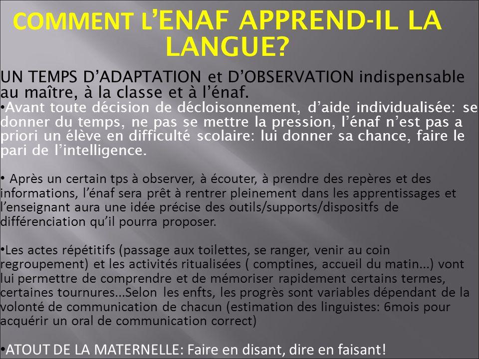COMMENT L ENAF APPREND-IL LA LANGUE.