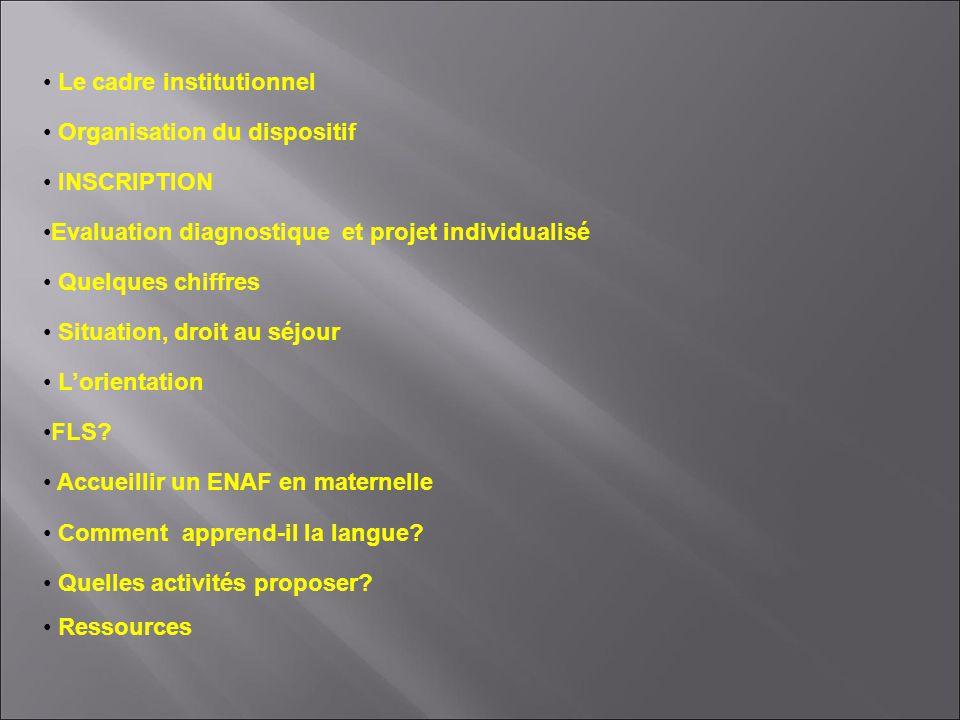 Le cadre institutionnel Organisation du dispositif INSCRIPTION Evaluation diagnostique et projet individualisé Quelques chiffres Situation, droit au s