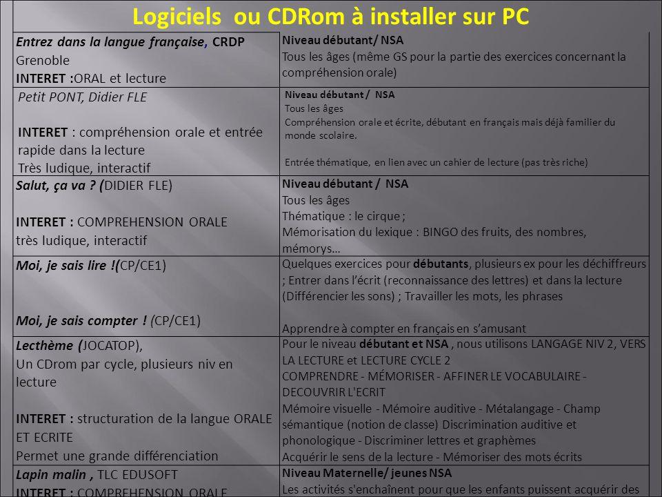 Logiciels ou CDRom à installer sur PC Entrez dans la langue française, CRDP Grenoble INTERET :ORAL et lecture Niveau débutant/ NSA Tous les âges (même