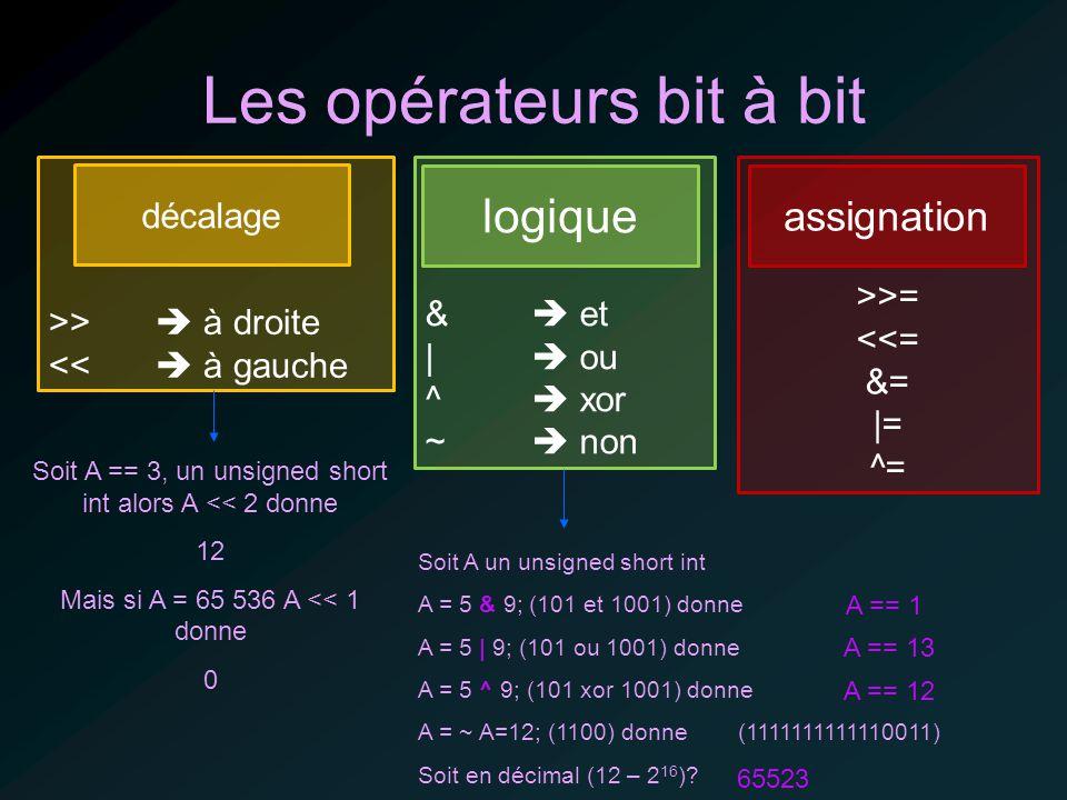Les opérateurs bit à bit >> à droite << à gauche décalage & et | ou ^ xor ~ non logique Soit A un unsigned short int A = 5 & 9; (101 et 1001) donne A = 5 | 9; (101 ou 1001) donne A = 5 ^ 9; (101 xor 1001) donne A = ~ A=12; (1100) donne (1111111111110011) Soit en décimal (12 – 2 16 ).
