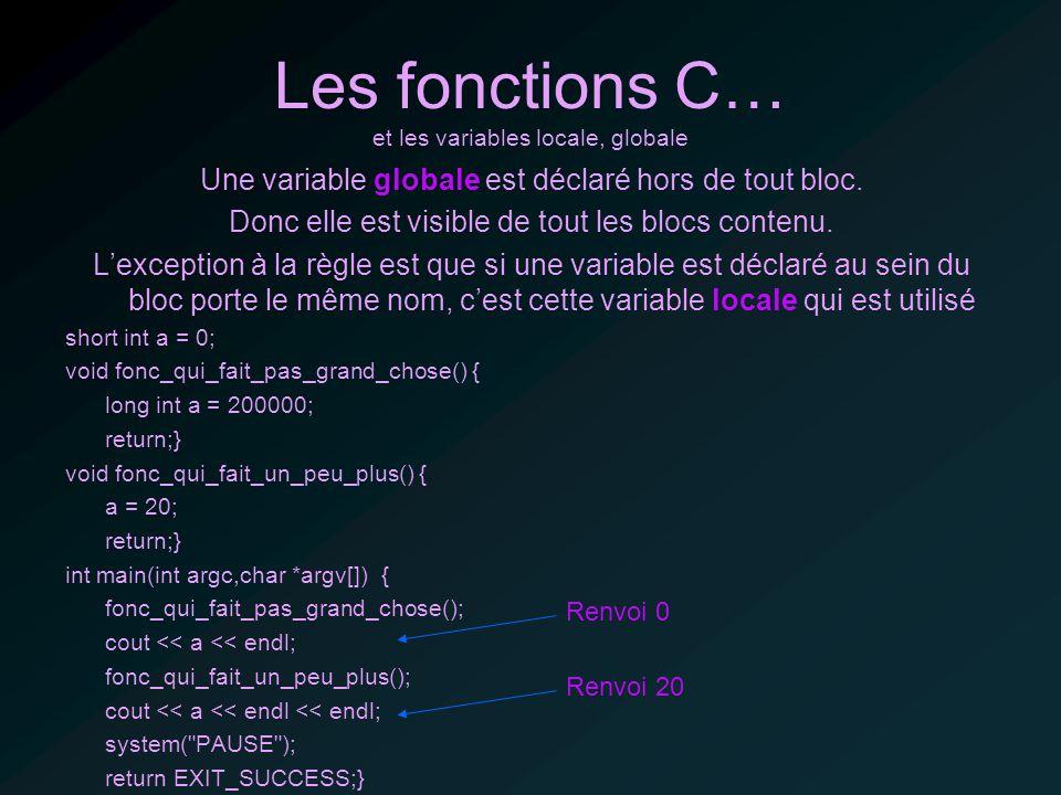 Les fonctions C… et les variables locale, globale Une variable globale est déclaré hors de tout bloc.