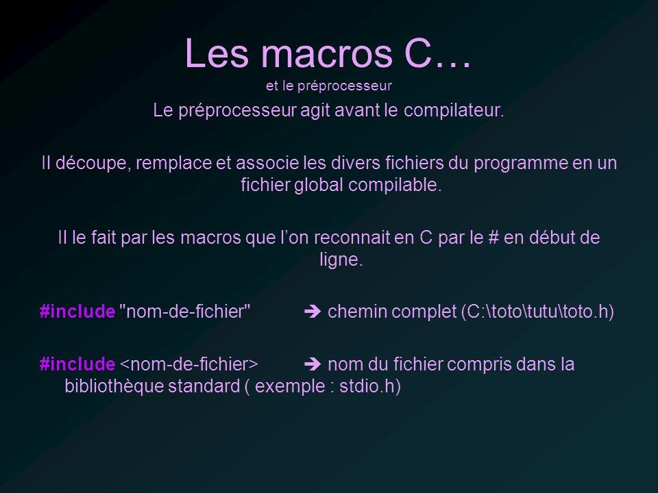 Les macros C… et le préprocesseur Le préprocesseur agit avant le compilateur.