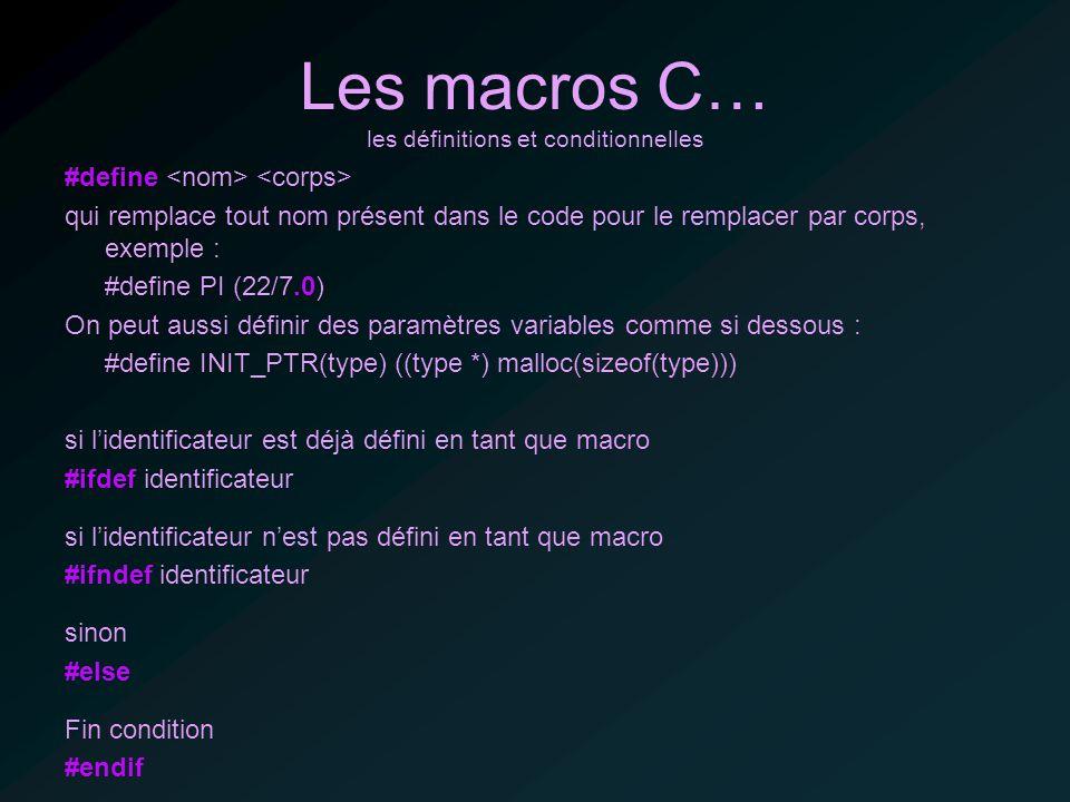 Les macros C… les définitions et conditionnelles #define qui remplace tout nom présent dans le code pour le remplacer par corps, exemple : #define PI (22/7.0) On peut aussi définir des paramètres variables comme si dessous : #define INIT_PTR(type) ((type *) malloc(sizeof(type))) si lidentificateur est déjà défini en tant que macro #ifdef identificateur si lidentificateur nest pas défini en tant que macro #ifndef identificateur sinon #else Fin condition #endif
