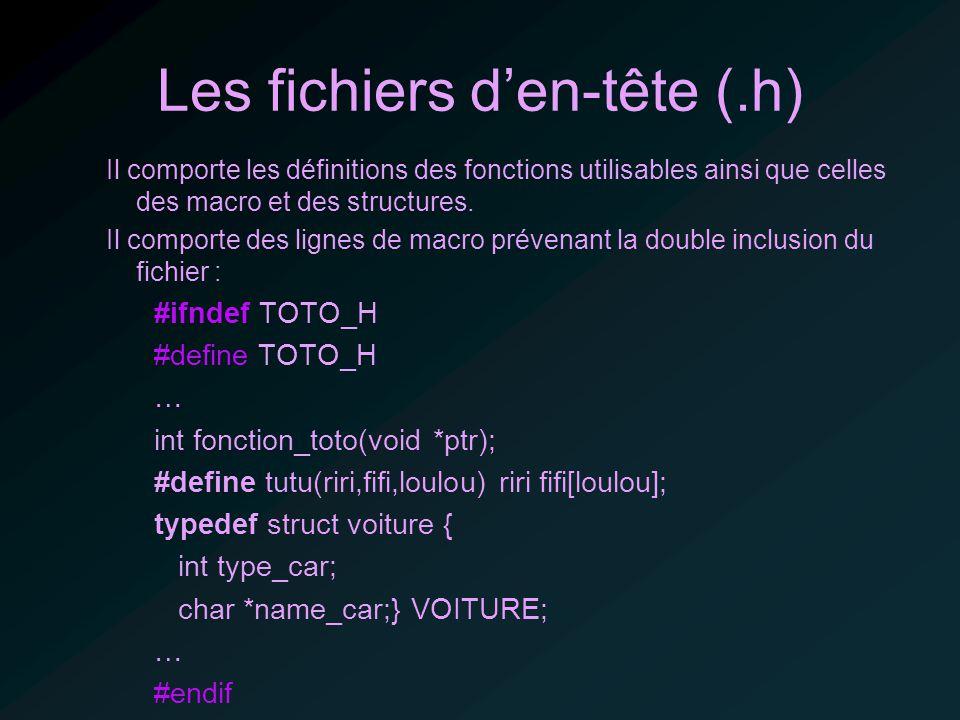 Les fichiers den-tête (.h) Il comporte les définitions des fonctions utilisables ainsi que celles des macro et des structures.