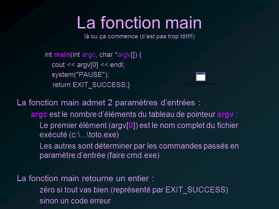 La fonction main là ou ça commence (cest pas trop tôt!!!) int main(int argc, char *argv[]) { cout << argv[0] << endl; system( PAUSE ); return EXIT_SUCCESS;} La fonction main admet 2 paramètres dentrées : argc est le nombre déléments du tableau de pointeur argv : Le premier élément (argv[0]) est le nom complet du fichier exécuté (c:\...\toto.exe) Les autres sont déterminer par les commandes passés en paramètre dentrée (faire cmd.exe) La fonction main retourne un entier : zéro si tout vas bien (représenté par EXIT_SUCCESS) sinon un code erreur