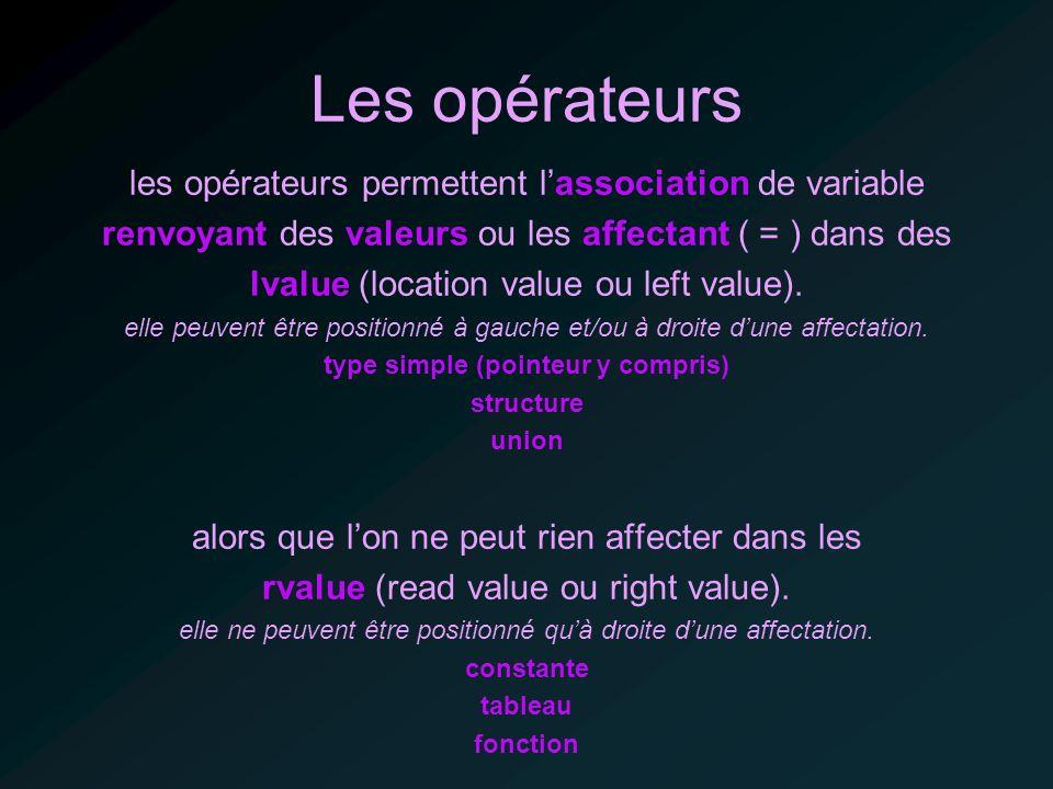 Les opérateurs les opérateurs permettent lassociation de variable renvoyant des valeurs ou les affectant ( = ) dans des lvalue (location value ou left value).