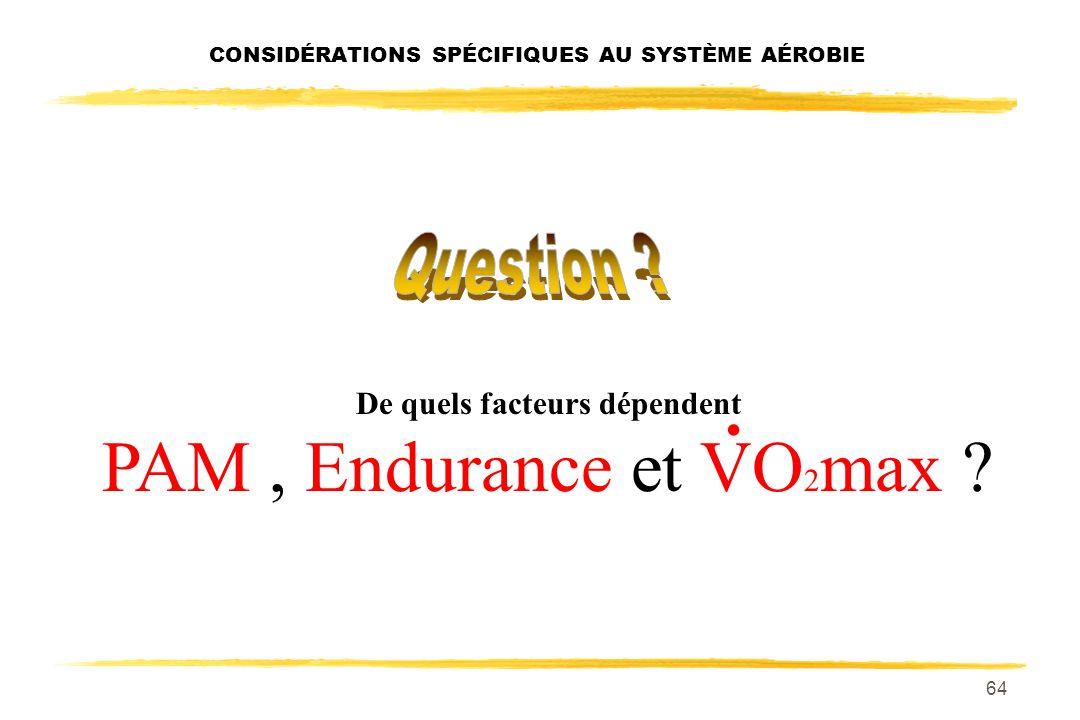 63 CONSIDÉRATIONS SPÉCIFIQUES AU SYSTÈME AÉROBIE VO 2 max brèves considérations V: fait référence au volume. O 2 : fait référence à loxygène. pointuni