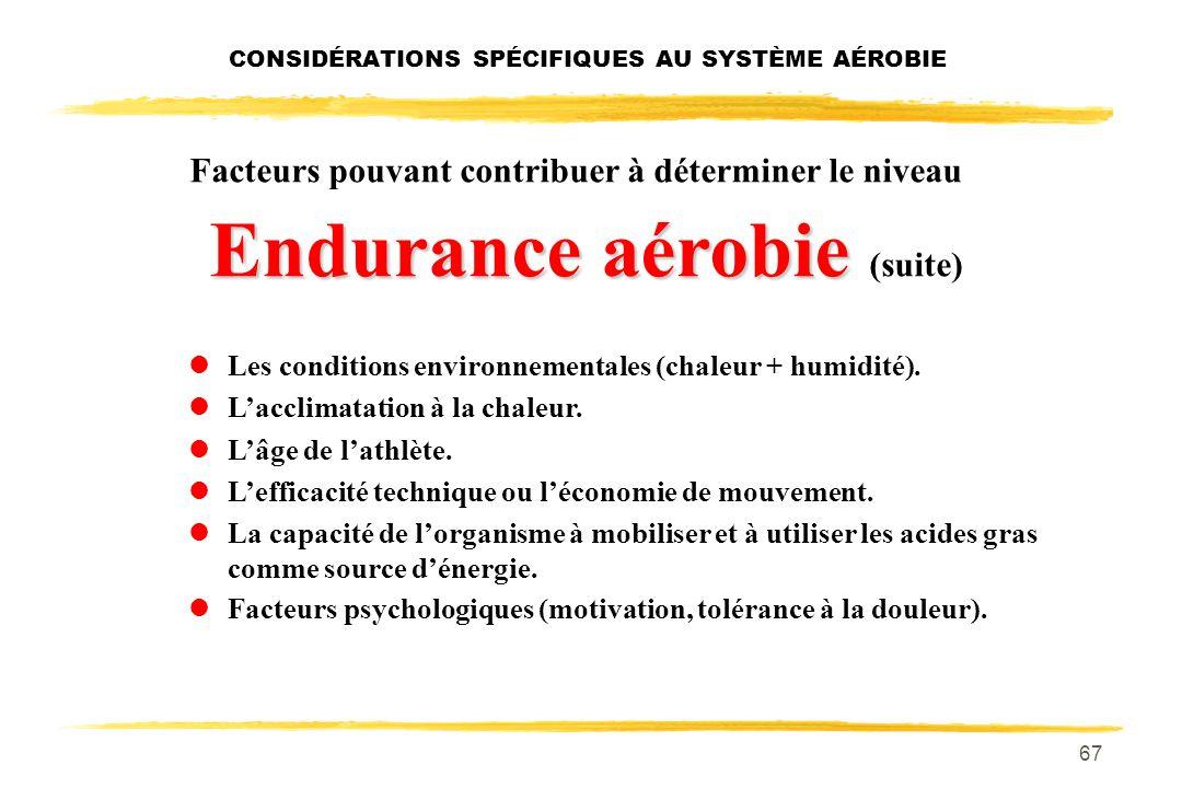 66 Facteurs pouvant contribuer à déterminer le niveau Endurance aérobie l% élevé de fibres lentes. lLe niveau des réserves de glycogène musculaire et