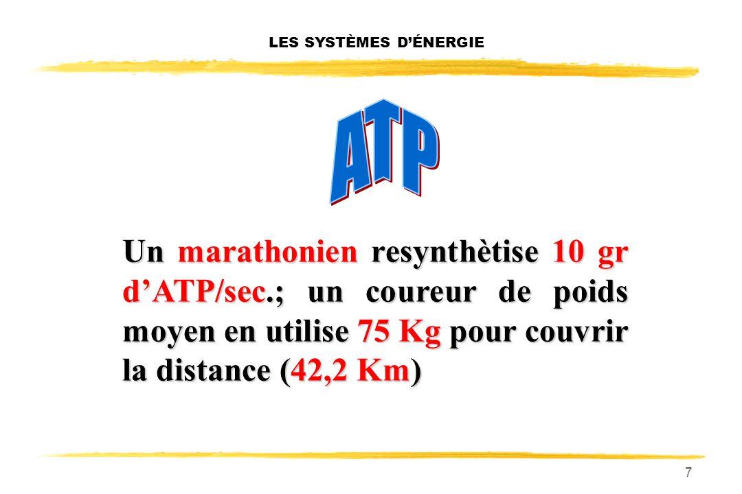 7 LES SYSTÈMES DÉNERGIE Un marathonien resynthètise 10 gr dATP/sec.; un coureur de poids moyen en utilise 75 Kg pour couvrir la distance (42,2 Km)