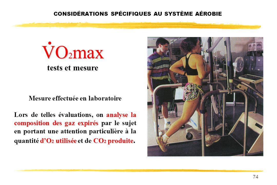 73 Mesures indirectes: Léger-Boucher Léger-Lambert 12 minutes Cooper 3000m Test de watts (vélo) Mesure indirecte: Test de 90' Évaluation et tests PAM