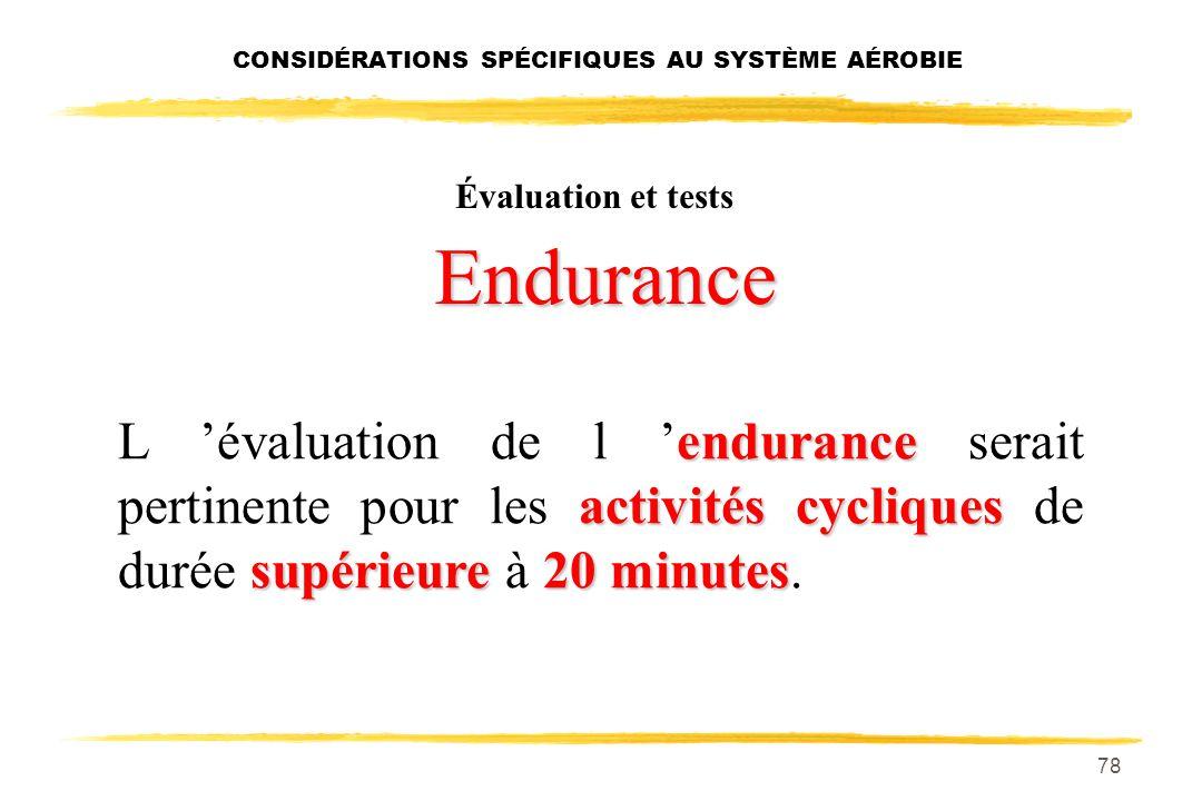 77 CONSIDÉRATIONS SPÉCIFIQUES AU SYSTÈME AÉROBIE PAM activités cycliquessupérieure45 secondes L évaluation de la PAM serait pertinente pour les activi