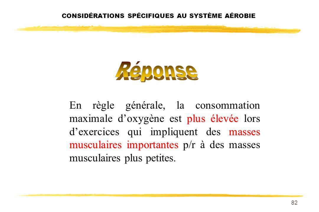81 CONSIDÉRATIONS SPÉCIFIQUES AU SYSTÈME AÉROBIE Dans quelle activité, consommation maximale doxygène la consommation maximale doxygène est-elle la pl