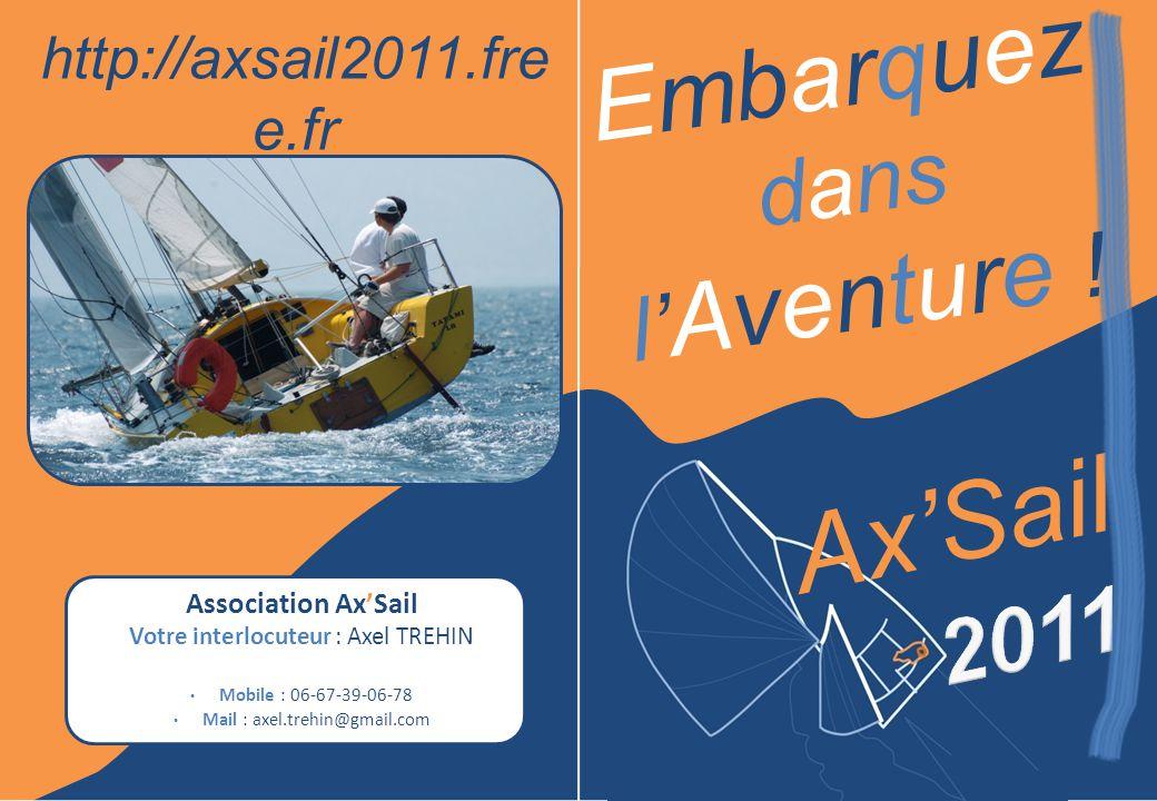 Association AxSail Votre interlocuteur : Axel TREHIN Mobile : 06-67-39-06-78 Mail : axel.trehin@gmail.com http://axsail2011.fre e.fr AxSail Embarquez