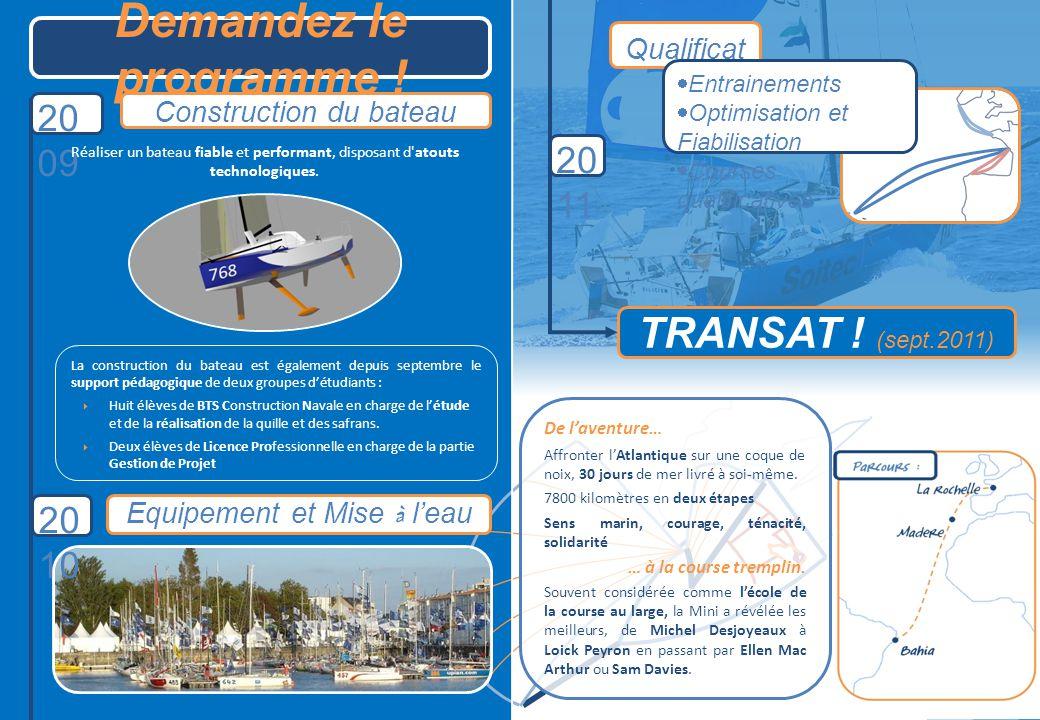 Demandez le programme ! Construction du bateau TRANSAT ! (sept.2011) 20 09 20 11 Equipement et Mise à leau 20 10 La construction du bateau est égaleme