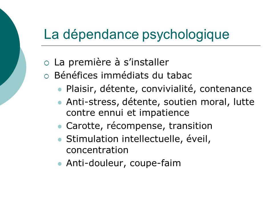 La dépendance psychologique La première à sinstaller Bénéfices immédiats du tabac Plaisir, détente, convivialité, contenance Anti-stress, détente, sou