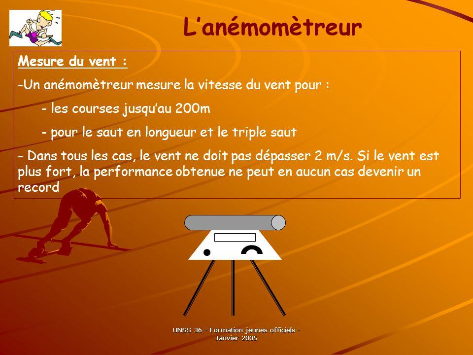 UNSS 36 - Formation jeunes officiels - Janvier 2005 Mesure du vent : -Un anémomètreur mesure la vitesse du vent pour : - les courses jusquau 200m - pour le saut en longueur et le triple saut - Dans tous les cas, le vent ne doit pas dépasser 2 m/s.