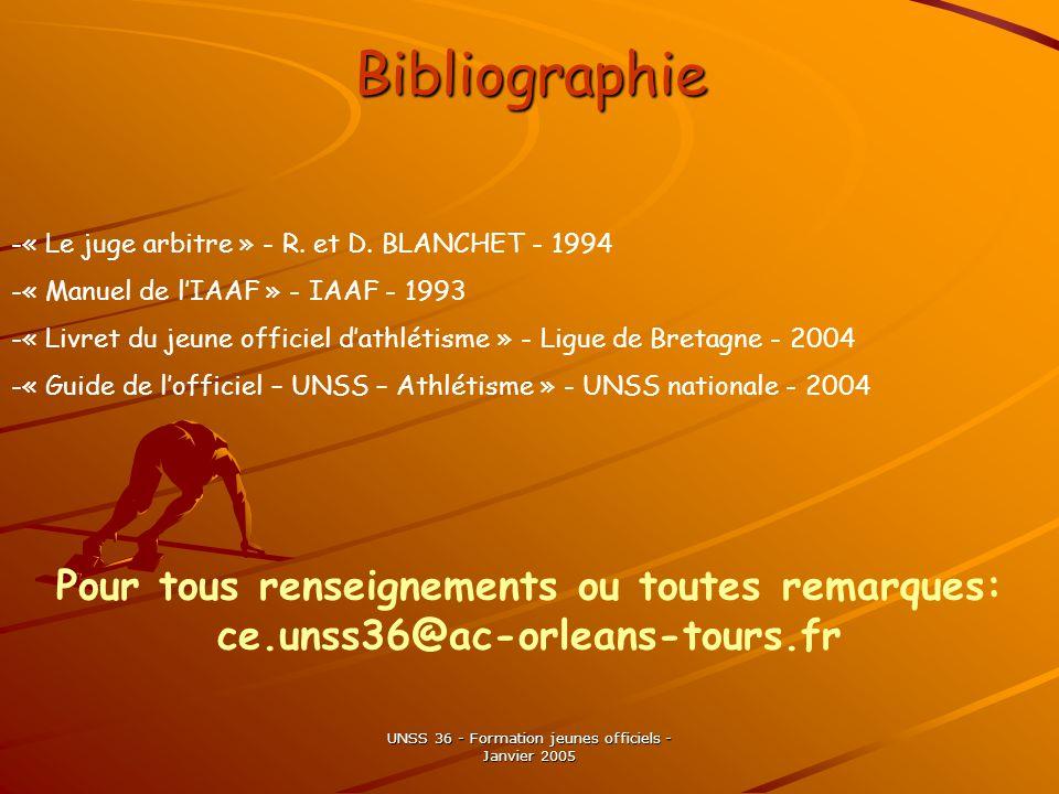 UNSS 36 - Formation jeunes officiels - Janvier 2005 Bibliographie -« Le juge arbitre » - R.