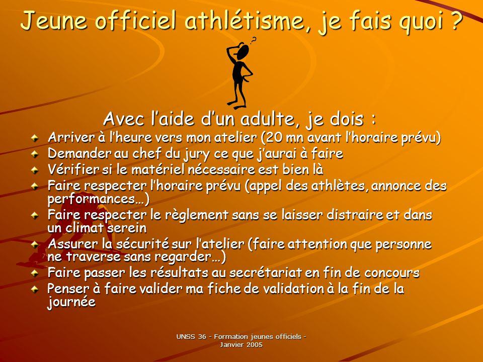 UNSS 36 - Formation jeunes officiels - Janvier 2005 Jeune officiel athlétisme, je fais quoi .