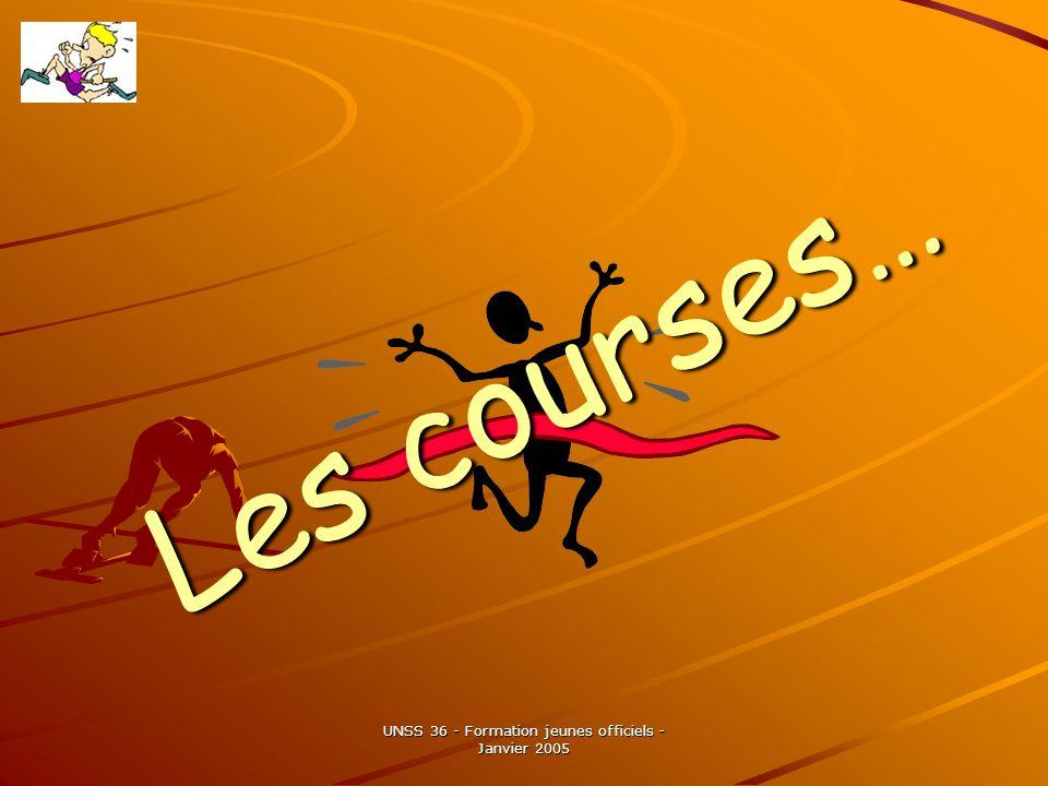 UNSS 36 - Formation jeunes officiels - Janvier 2005 Les courses…