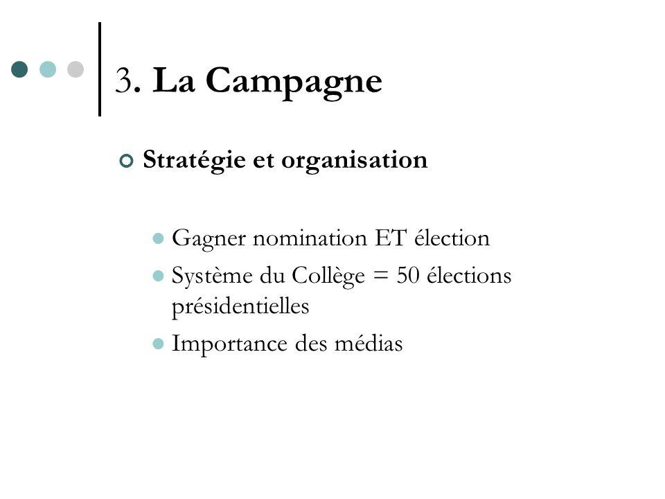 3. La Campagne Stratégie et organisation Gagner nomination ET élection Système du Collège = 50 élections présidentielles Importance des médias