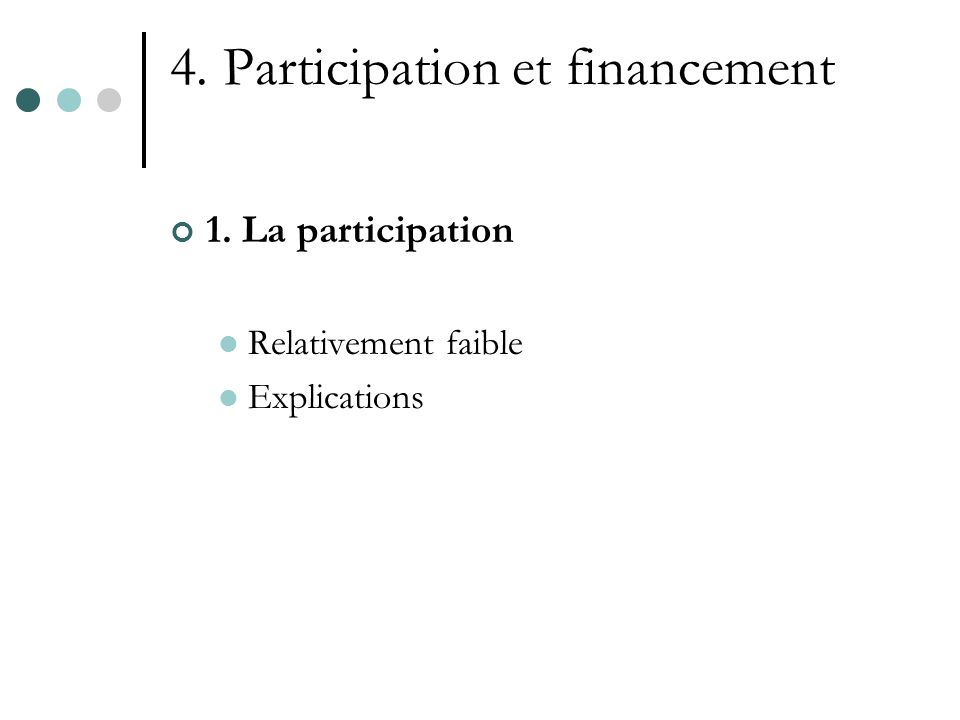 4. Participation et financement 1. La participation Relativement faible Explications