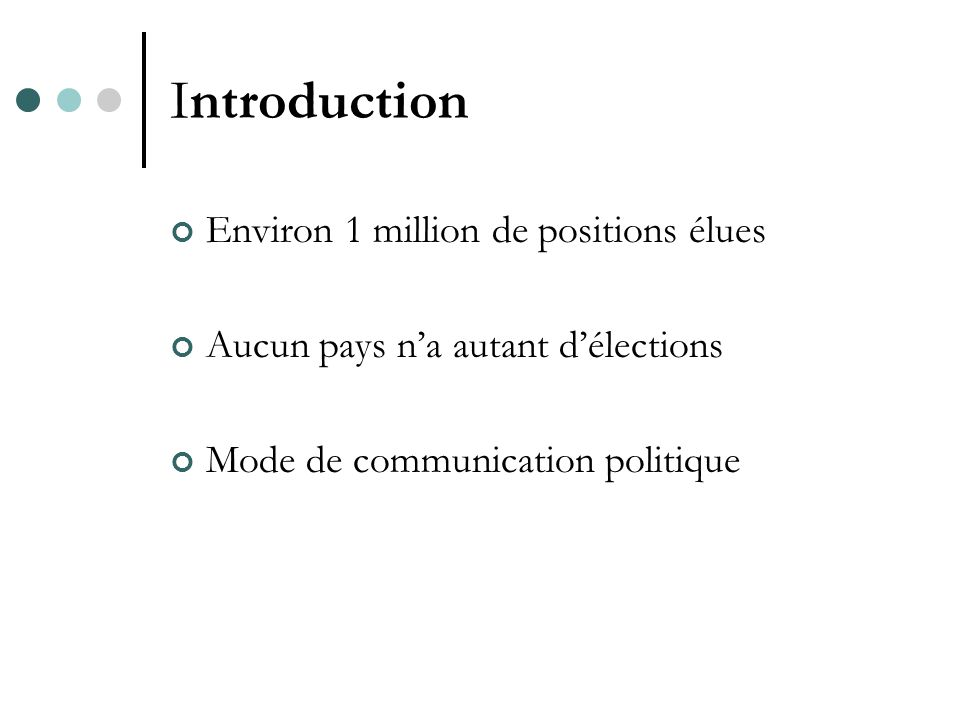 Introduction Environ 1 million de positions élues Aucun pays na autant délections Mode de communication politique
