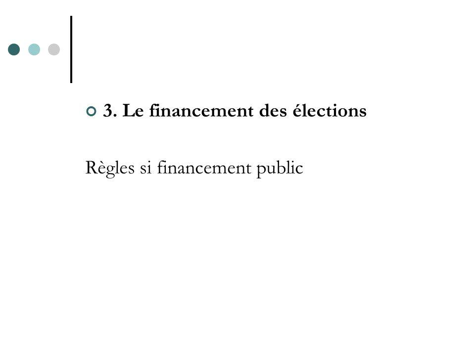 3. Le financement des élections Règles si financement public
