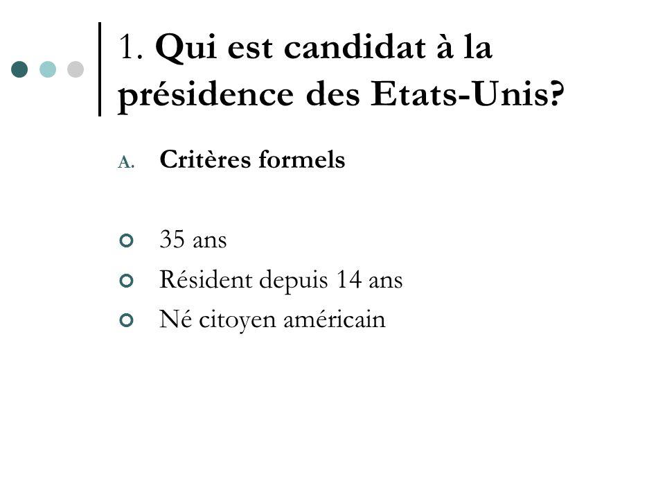 1. Qui est candidat à la présidence des Etats-Unis.