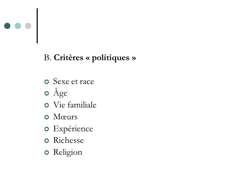 B. Critères « politiques » Sexe et race Âge Vie familiale Mœurs Expérience Richesse Religion