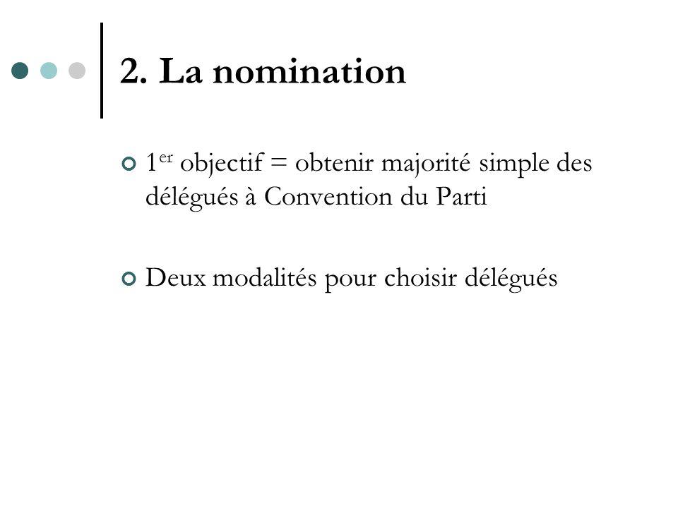 2. La nomination 1 er objectif = obtenir majorité simple des délégués à Convention du Parti Deux modalités pour choisir délégués