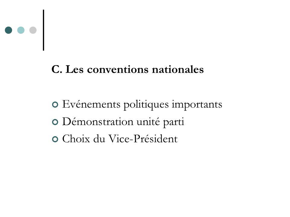 C. Les conventions nationales Evénements politiques importants Démonstration unité parti Choix du Vice-Président