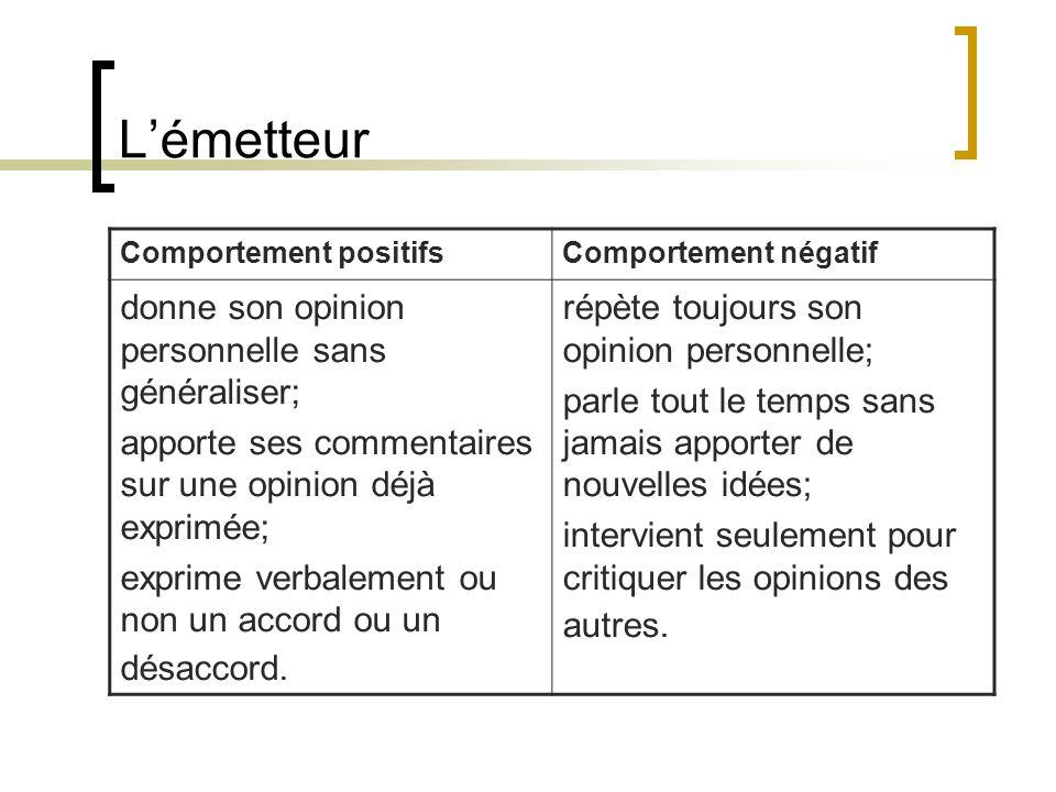 Lémetteur Comportement positifsComportement négatif donne son opinion personnelle sans généraliser; apporte ses commentaires sur une opinion déjà expr