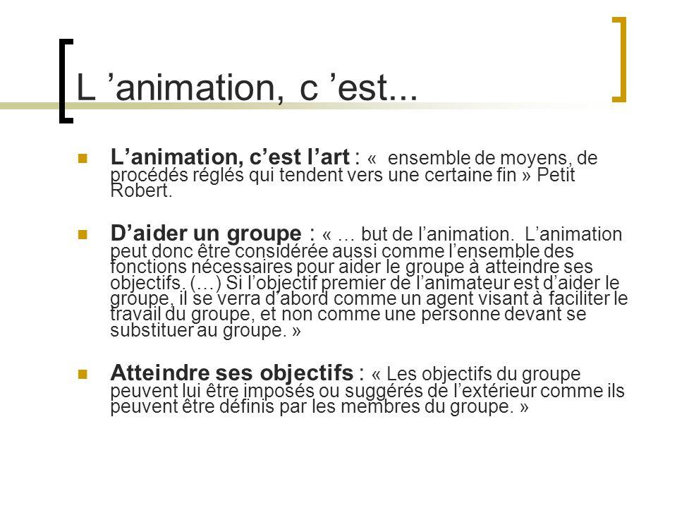 L animation, c est... Lanimation, cest lart : « ensemble de moyens, de procédés réglés qui tendent vers une certaine fin » Petit Robert. Daider un gro