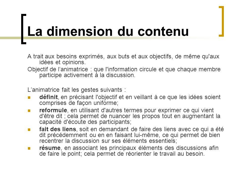 La dimension du contenu A trait aux besoins exprimés, aux buts et aux objectifs, de même qu'aux idées et opinions. Objectif de lanimatrice : que l'inf