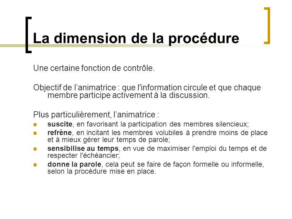 La dimension de la procédure Une certaine fonction de contrôle. Objectif de lanimatrice : que l'information circule et que chaque membre participe act