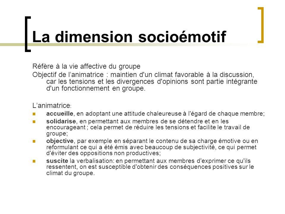 La dimension socioémotif Réfère à la vie affective du groupe Objectif de lanimatrice : maintien d'un climat favorable à la discussion, car les tension