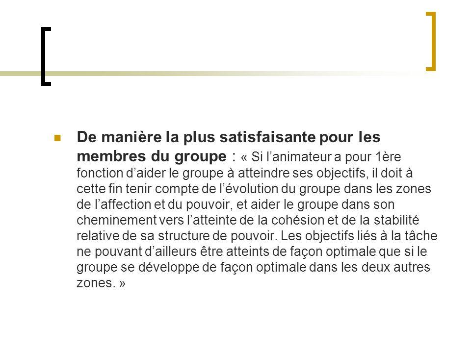 De manière la plus satisfaisante pour les membres du groupe : « Si lanimateur a pour 1ère fonction daider le groupe à atteindre ses objectifs, il doit