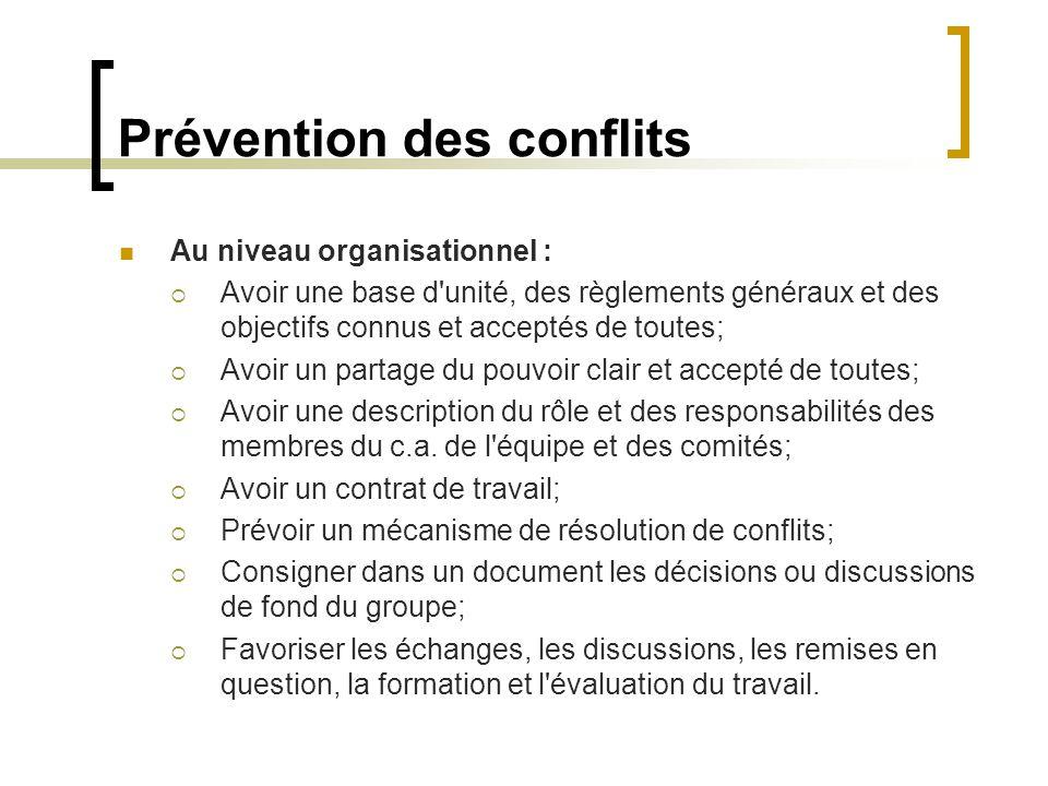 Prévention des conflits Au niveau organisationnel : Avoir une base d'unité, des règlements généraux et des objectifs connus et acceptés de toutes; Avo
