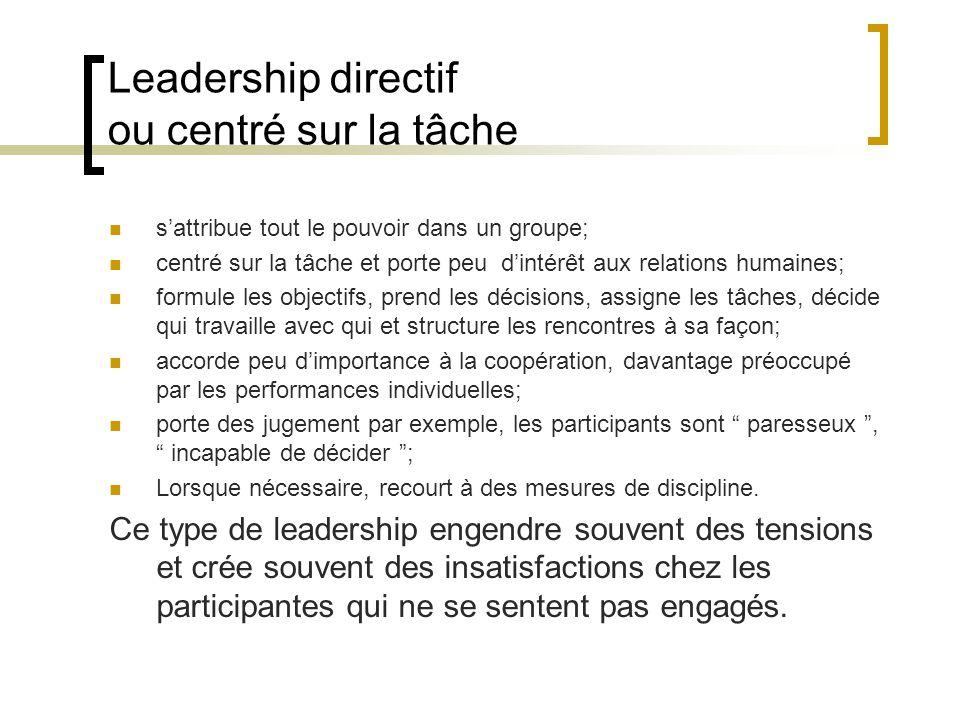 Leadership directif ou centré sur la tâche sattribue tout le pouvoir dans un groupe; centré sur la tâche et porte peu dintérêt aux relations humaines;